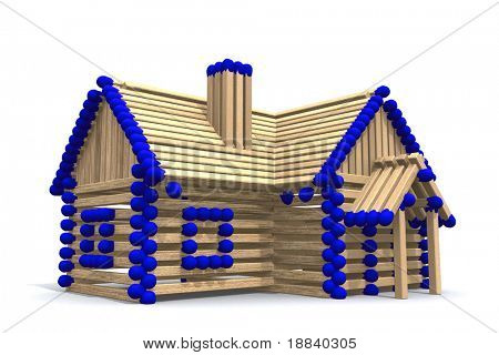 One storey house from matches - 3D illustration - real estate concept