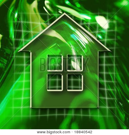 Green abstract graphic background with home icon