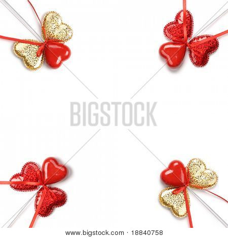 Valentine Day pattern made from hearts Isolated over white background