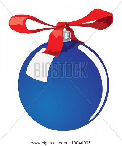 Christmas tree decoration Blue ball with a red bow Isolated on white