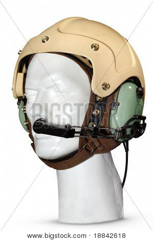 Helicopter pilot anti-noise headset Isolated on white background with a clipping path