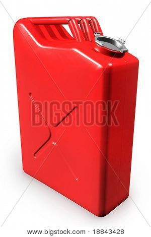 Red gas can, gasoline canister isolated on white background