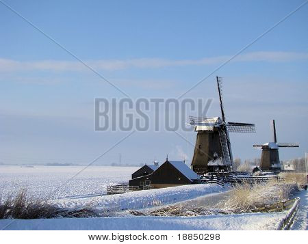 winter landscape, windmills at Oterleek, the Netherlands