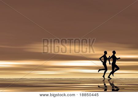abstract background with room for text showing the silhouettes of a couple running on the beach
