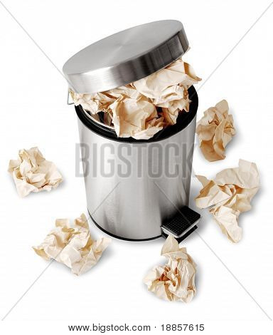 Wastebasket full up with crumpled paper. Isolated on white background