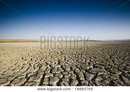 Dry Lake and Deep Blue Sky