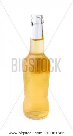 An open bottle of beer isolated on white background