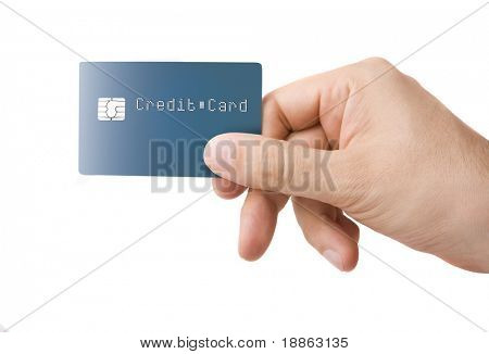 Nameless credit card with chip in a male hand isolated on white