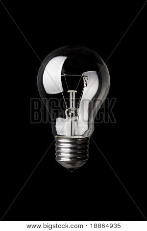 Classic Light bulb turned off isolated on black