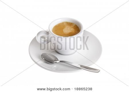 Classic espresso cup filled isolated on white
