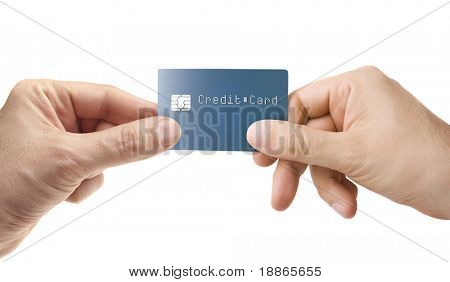 Hand giving credit card isolated on white