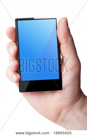 Hand holding smart phone on white