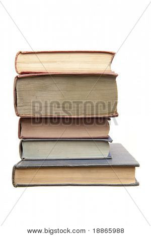Pile of old books top view isolated on white