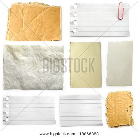 Three slices of paper isolated on white background