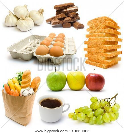 Collection of foods and drinks on white background