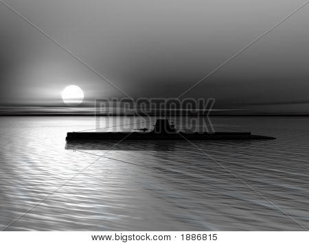 U-Boot auf Grund eines Sonnenuntergangs am Meer