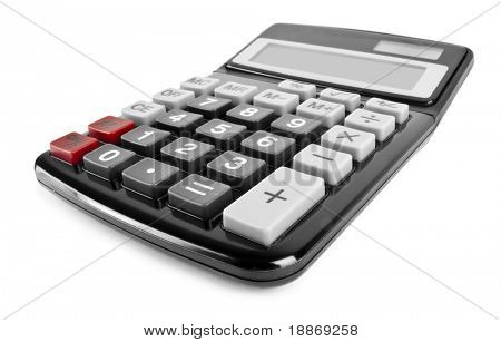 One black modern calculator isolated on white background