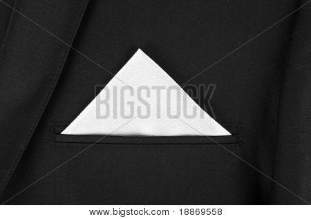 White kerchief in black jacket
