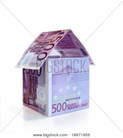Money house made from 500 Euro banknotes