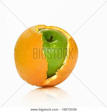 Apple and orange hybrid. On a white background the isolated