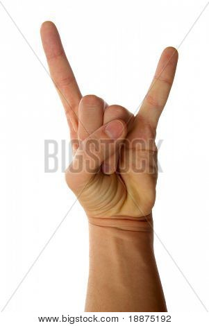 A man's hand giving the Rock and Roll sign.