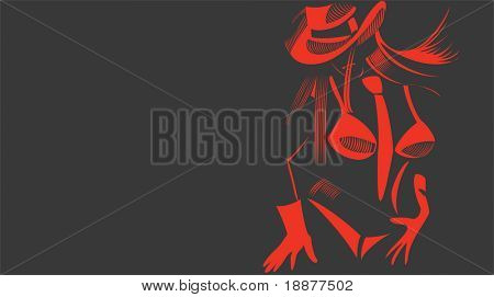 vector image of red stripper baby on stag-party