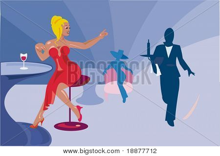 vector image of evening party in restaurant
