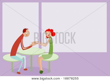 vector image of couple dating