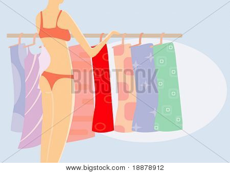 vector image of girl in underwear