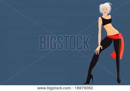 vector image of futuristic woman. may be use for party cards and posters