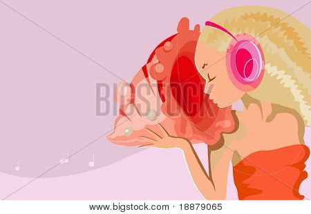 vector image of girl with shell