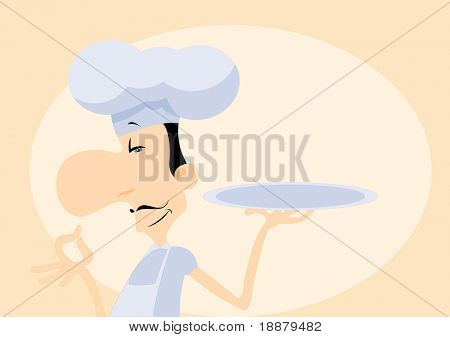 vector image of french chef. may be use like menu's background