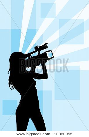vector image of girl with camcorder
