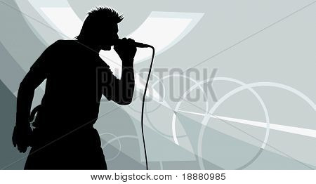 vector image of singer's silhouette