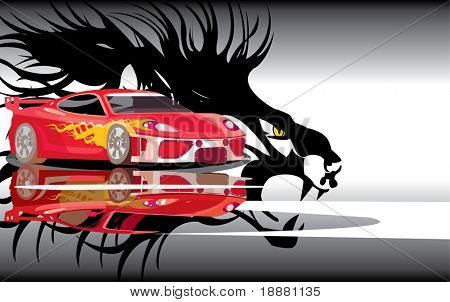 vector image of sports car and lion shadow