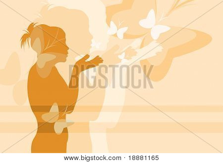 vector image of girl and butterfly