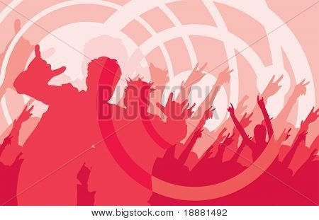 vector image of silhouette of people on rock concert