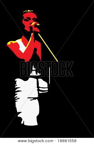 vector image of young singer isolated on black
