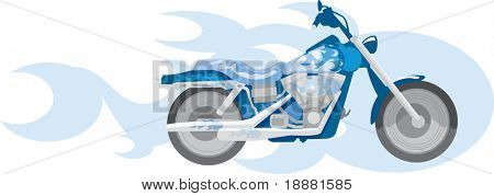 vector image of blue motorcycle and blue flame