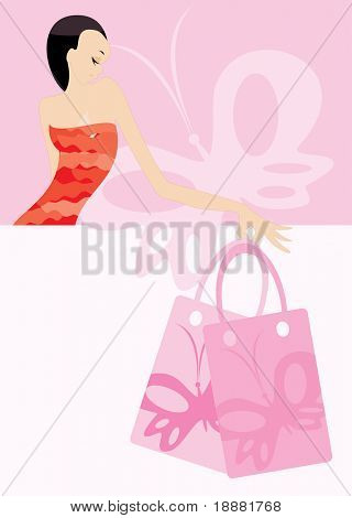 vector image of woman with bags. there is blank area for your info