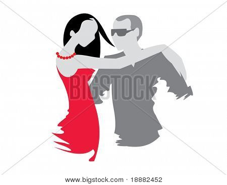 vector image of dancing couple