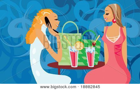 image of two talking women in cafe