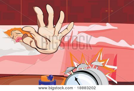 vector image of sleepy woman cartoon