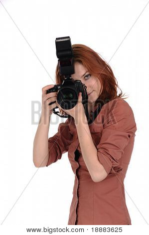 young photographer with digital camera isolated on white
