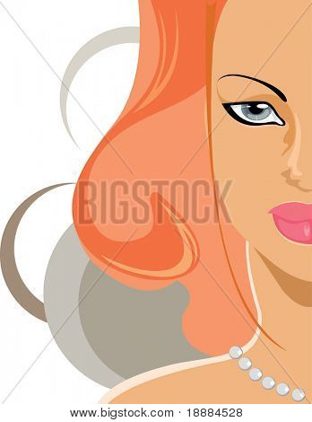 vector image of half face of pretty girl