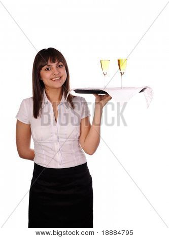 smiling waitress with tray isolated on white