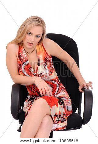 angry woman sitting in armchair isolated on white