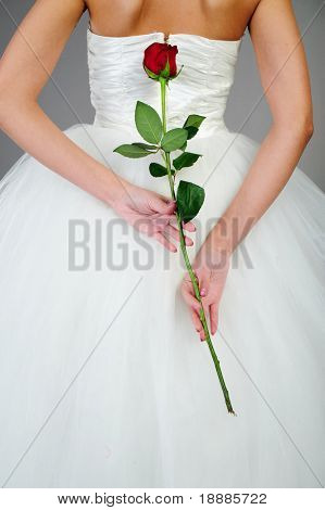 back of young woman in white wedding dress hold red rose