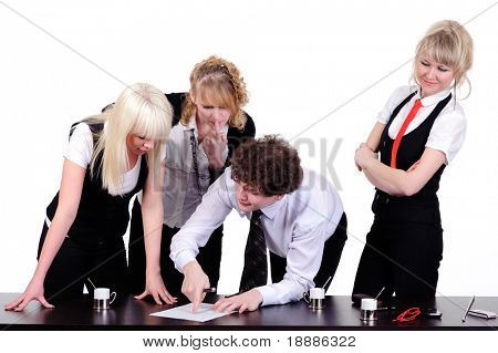 business team working together at office, isolated on white