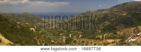 Large panorama of greek mountains and bay